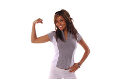 Workout Woman 3. Sexy workout woman flexes her muscels Stock Photo