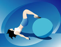 Workout woman. Slim woman on workout vector illustration Royalty Free Stock Images