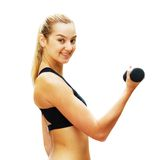 Workout Woman Against White Stock Images