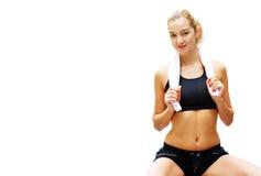 Workout Woman Against White Stock Photo