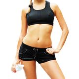 Workout Woman Against White. From a series of photos Royalty Free Stock Photos