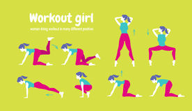 Workout for women. Set of gym icons in flat style isolated on gr Stock Photography