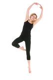 Workout of young acrobat woman Stock Photography