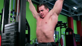 Workout for young bodybuilder stock video