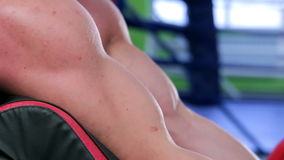 Workout for young bodybuilder stock footage