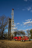Workover rig. A workover oil rig, often used to repair or maintain a closed oil well Royalty Free Stock Images