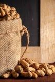Workowa torba z arachidem na brązu tle zdjęcie royalty free