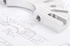 Workpiece on a blueprint Stock Photography