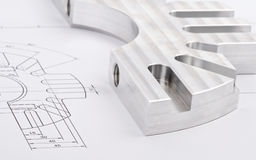 Workpiece on a blueprint Royalty Free Stock Images