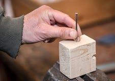 Workpiece de madeira no torno Imagens de Stock Royalty Free