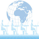 Workplace. Human working at workstation and globe background Royalty Free Stock Photos