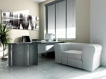 Workplace. Modern interior of office 3d image Royalty Free Stock Photo