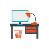 Workplace accessories flat icons Royalty Free Stock Photo