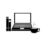 Workplace accessories flat icons Royalty Free Stock Images