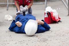 First aid after workplace accident royalty free stock image