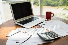 Workplace of accountant Stock Images