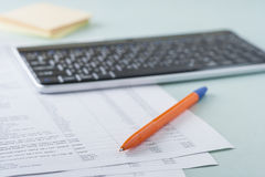 Workplace accountant. Work with documents and papers Royalty Free Stock Photos