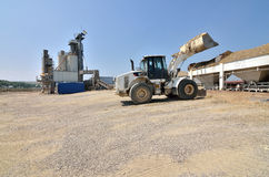 Workplace activity at concrete plant Stock Photo