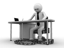Workplace addiction. Man chained with office table (workplace) 3 Stock Images