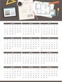 workplace Affaires, calendrier 2019 de plan de maison d'architecte de projet de construction Vue supérieure illustration libre de droits