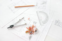 Workplace of architect Stock Photo