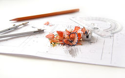 Workplace of architect Stock Photography