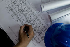 Workplace of architect - Architect rolls and plans.architectural plan,technical project drawing. Engineering tools view from. The top. Construction background royalty free stock photography