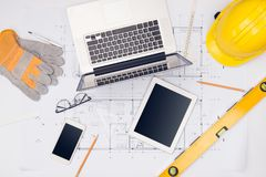 Workplace of architect. Architectural plan, technical project dr. Awing stock photo