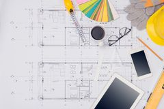 Workplace of architect. Architectural plan, technical project dr. Awing stock images