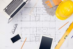 Workplace of architect. Architectural plan, technical project dr royalty free stock images
