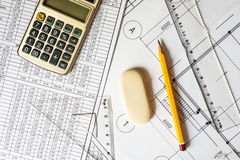 Workplace architect, creation schemes Stock Photography