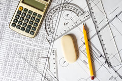 Workplace architect, creation schemes Royalty Free Stock Images