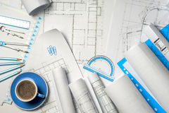 Workplace of architect - rolls and plans. Stock Image