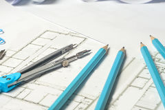 Workplace of architect - rolls and plans. Stock Images