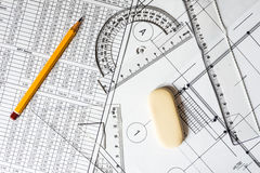 Workplace architect, tools for sketching Royalty Free Stock Photography