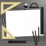 Workplace art board, paper, ruler, protractor Royalty Free Stock Photos