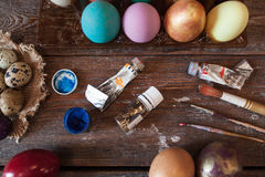 Workplace of artisan before Easter flat lay Royalty Free Stock Image