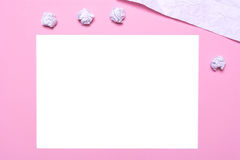 The workplace of the artist. A sheet of paper on a pink background. Royalty Free Stock Images
