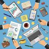 Workplace Auditing, Tax Process, Accounting. Workplace Auditing, Tax process, calculation, Accounting Concept. Hands holds Magnifier and Checks financial report Royalty Free Stock Photos