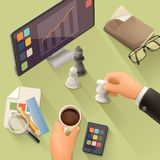 Workplace background flat design Royalty Free Stock Photography