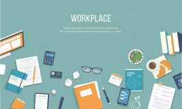 Workplace background. Top view of a table with monitor, books, documents, folder, notepads. Vector illustration Royalty Free Stock Images