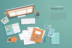 Workplace background. Top view of table with monitor, notebook, folder with documents. Vector illustration Royalty Free Stock Image