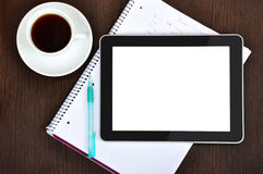 Workplace with blank digital tablet Stock Photos