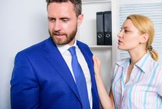 Free Workplace Bullying Concept. Girl Indecent Behavior. Man Touching Girl. Royalty Free Stock Photography - 139731237