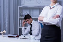 Workplace bullying male victim Royalty Free Stock Image