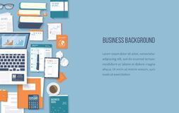 Workplace business background. Top view of office supplies laptop, folder, documents, notepad, books. Place for text. Vector Top view Stock Images