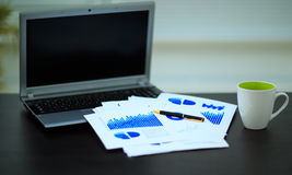 Workplace with business diagrams. Laptop, financial report in co royalty free stock photography