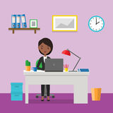 Workplace with business female character in flat design. Vector Stock Photo