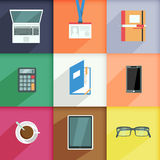 Workplace Business Icons Set Royalty Free Stock Photography