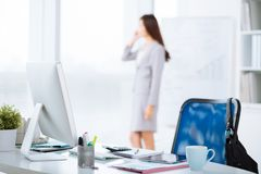 Workplace of business person Stock Images
